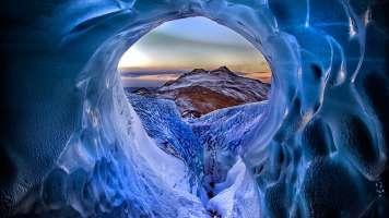 Iceberg Hole - Solheimajokull Glacier in Iceland