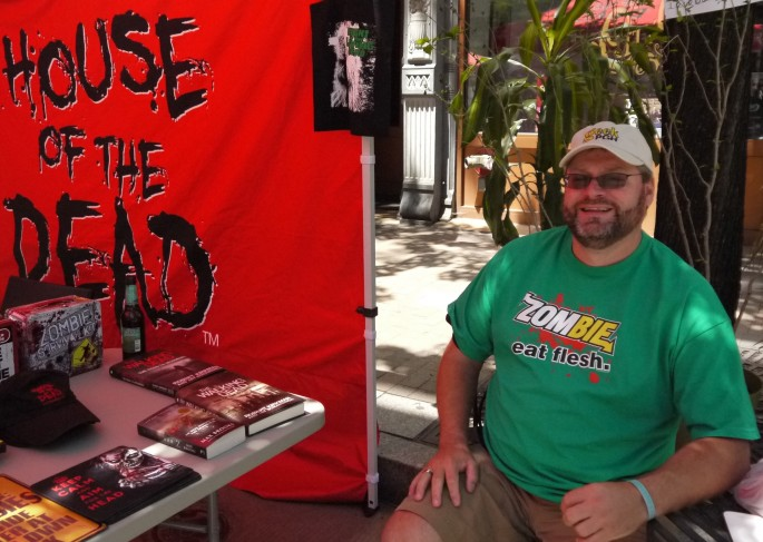 "Our friend Mark Labett in a ""Zombie: Eat Fresh"" shirt"