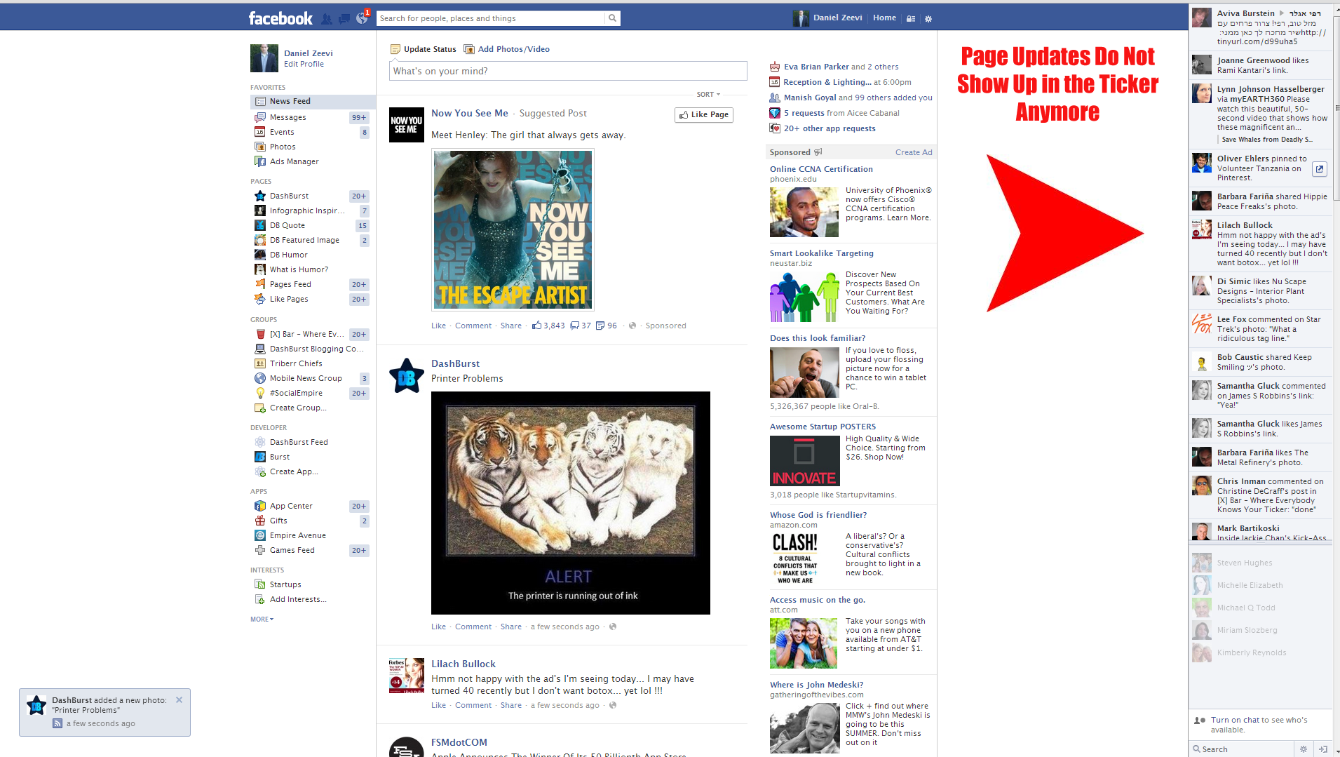Facebook page updates