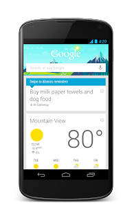 Creating a reminder on Google Now