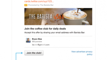Twitter's new Lead Generation Card in action