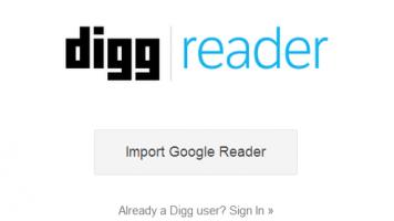 Digg Reader Landing page