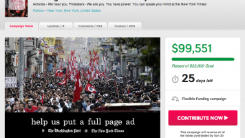 Screen shot of Indiegogo campaign for Turkey