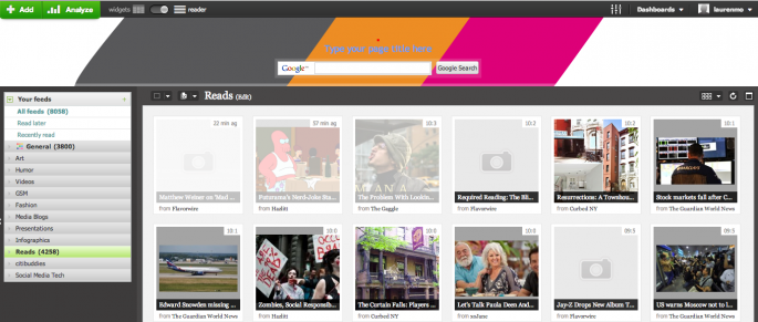 Screenshot of Netvibes for Web
