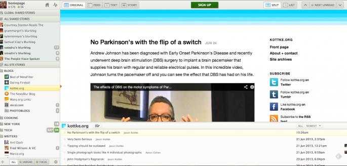 Screenshot of NewsBlur for Web