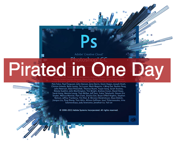 Photoshop Creative Cloud pirated in one day