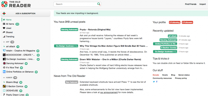 Screenshot of The Old Reader for Web