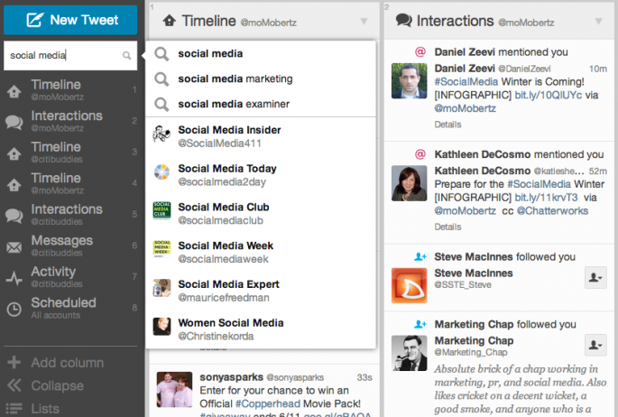 Screenshot of TweetDeck's new search function