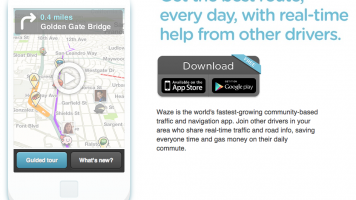 Screenshot of Waze website