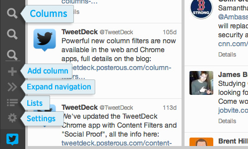 Editing columns in new TweetDeck