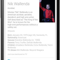 Screenshot of Google Now TV Card featuring Nik Wallenda