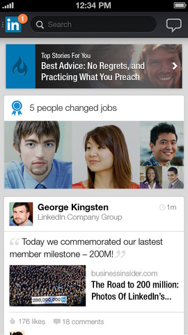 LinkedIn app for iPhone
