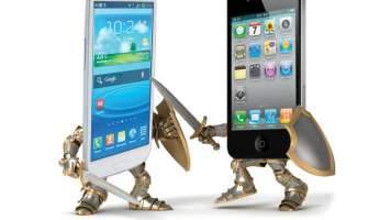 Samsung Galaxy and Apple iPhone battle with swords