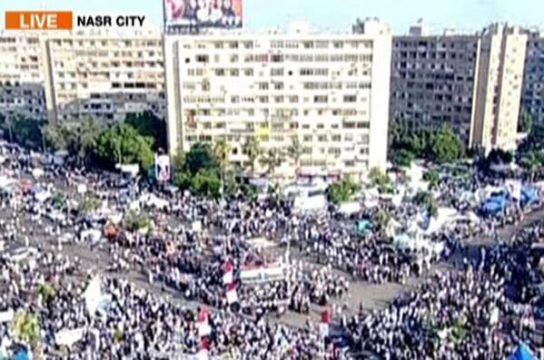 Crowd gathered at Nasr City where bodies of Cairo clashes were placed
