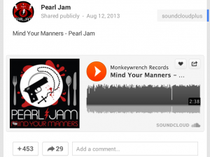 Embedding a Pearl Jam song from SoundCloud onto Google+