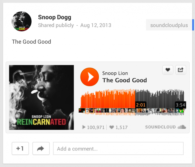 Snoop Lion embeds a song from SoundCloud on Google+
