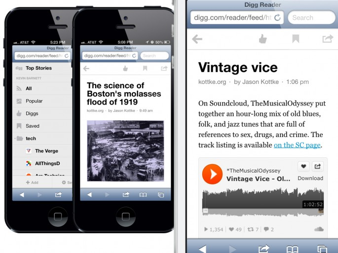 Digg Reader for mobile web