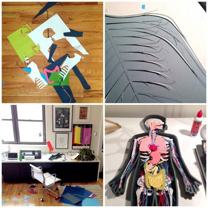 Various pictures of the creation process of the human body stop motion video