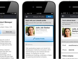 Screenshot of LinkedIn job apps on mobile