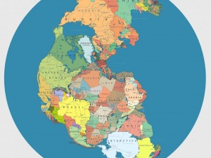 Illustration of what the world would look like today with political borders in Pangaea