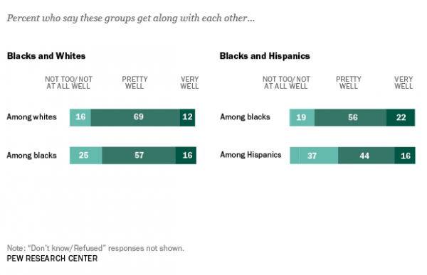 chart that shows most feel that racial groups get along