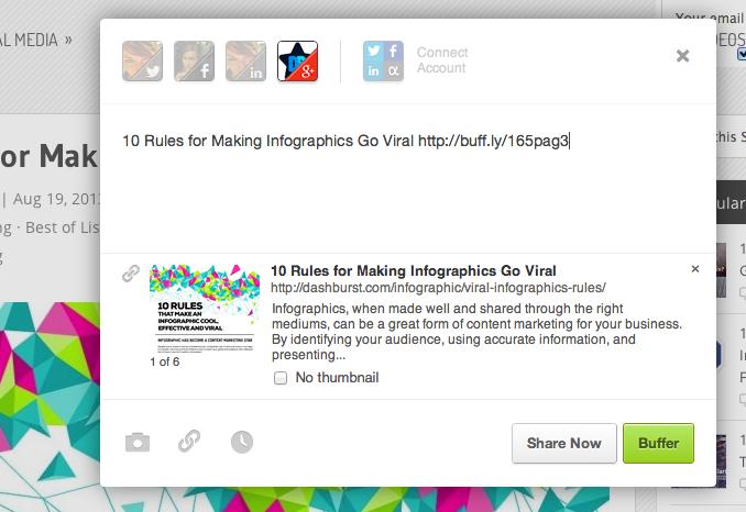Screenshot of Buffering to the DashBurst Google+ page