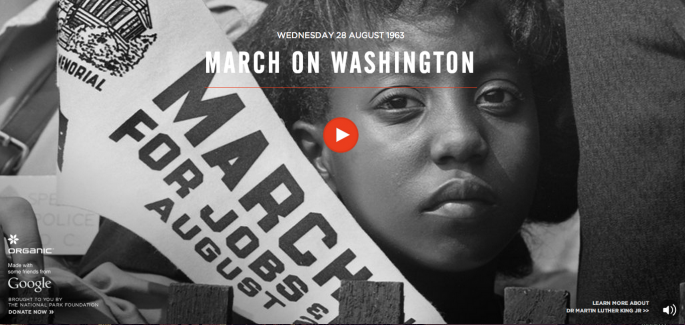 Screenshot of the interactive March on Washington website