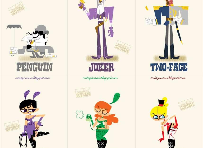 Spaghetti Gotham: Batman Character Illustrations