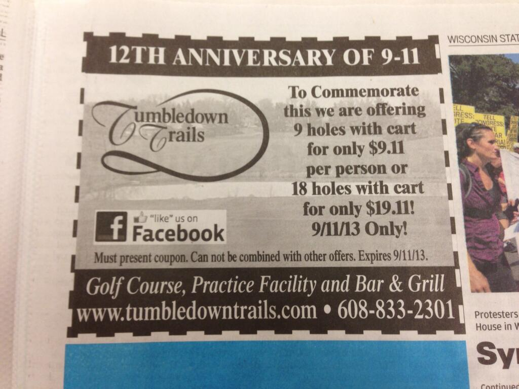 9/11 golf discount coupon for golfing in Verona, from Wisconsin State Journal