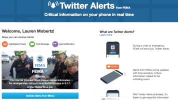 Screenshots of FEMAs twitter alerts subscription page