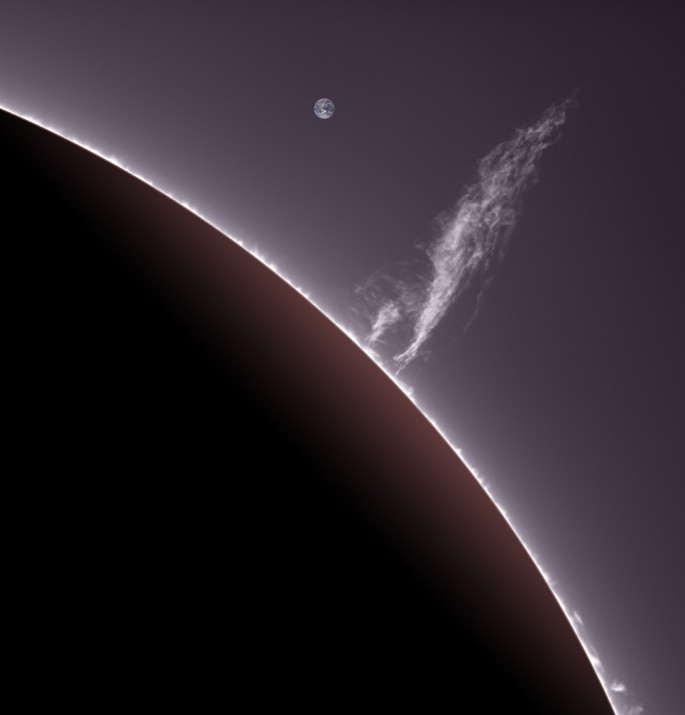 Large Solar Prominence Rises off Sun with Earth in Background