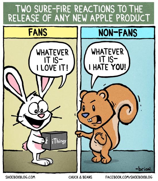 Apple reaction fan vs non-fan comic