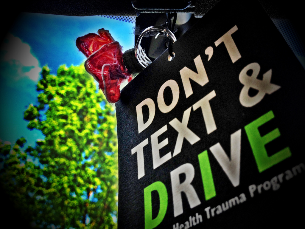 Sign that says Don't text and drive (photo by Michael Babcock)