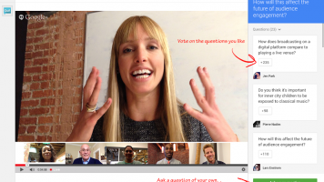 Screenshot of new Q&A feature on Google+ Hangouts on Air