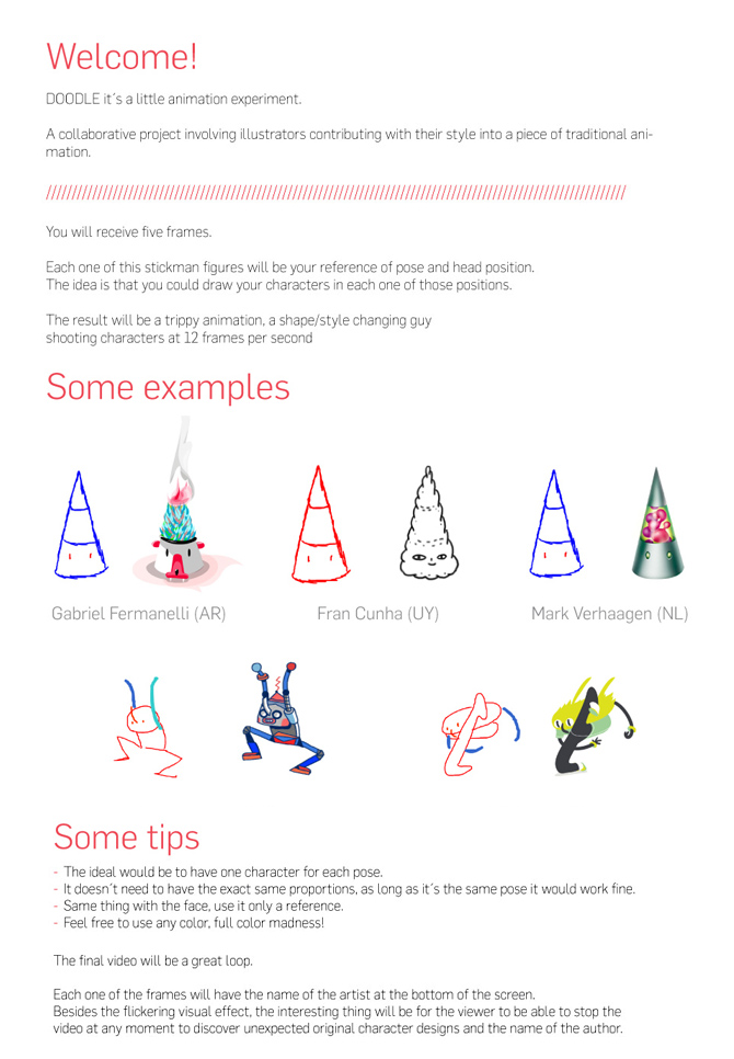Instructions for artists participating in The Doodle Project