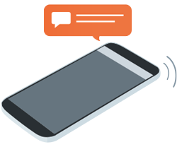 Illustration of a smartphone receiving a push notification for a Twitter alert