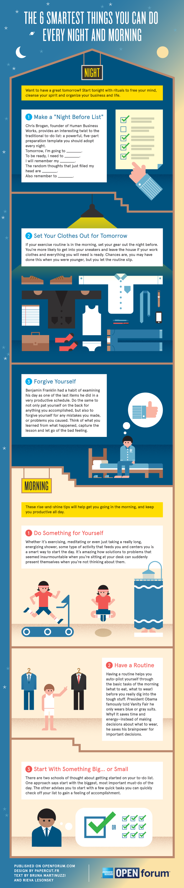 The thing smartest things you can do every night and every morning infographic