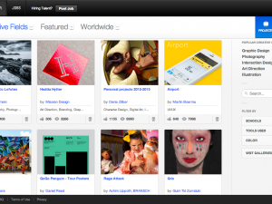 Screenshot of Behance landing page