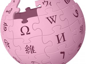 Wikipedia logo in pink