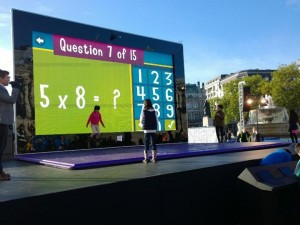 Giant Surface 2 tablet set up by Microsoft in Trafalgar Square, London