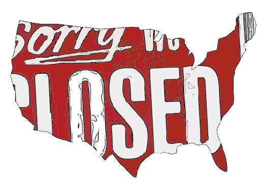"""USA Map that says """"sorry we're closed"""" mocking the government shutdown"""