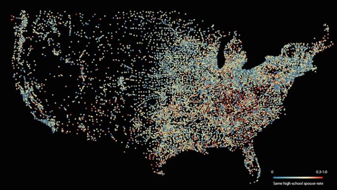 Map of the likelihood of marriage between high school peers