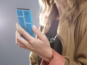 woman holding Motorola Ara phone mockup