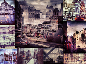 new york and london double exposures