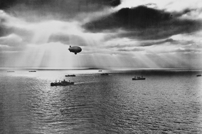 1943 - Sunset over the Atlantic finds a United Nations convoy moving peacefully towards it destination during World War II - Library of Congress