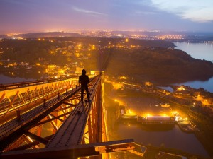 Atop the Forth Rail Bridge, Edinburgh, Scotland