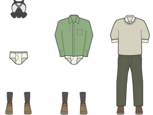 Illustrations of outfits of Breaking Bad's Walter White by Nathan Peters gas mask