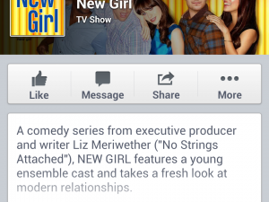 Facebook New Girl Page screenshot