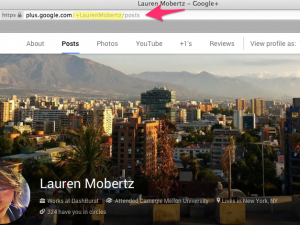Screenshot of the Google+ custom profile url
