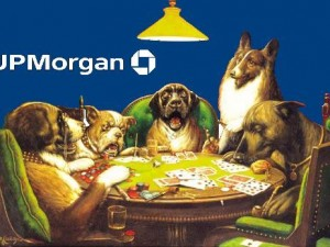 Dogs from JP Morgan Chase playing poker, image by Mike Licht